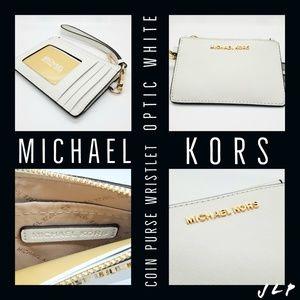 MICHAEL KORS Coin Purse Wristlet (White)